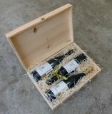 Holzkiste mit Klappdeckel und Schließe für bis zu 3 Flaschen