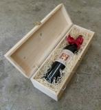 Holzkiste mit Klappdeckel und Schließe für 1 Flasche